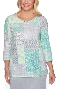 Alfred Dunner Lake Geneva Studded Patchwork-Print Top
