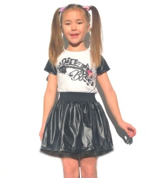 Mi Amore Gigi Little Girls Graphic Interchangeable 3D Star Top and Skirt Set