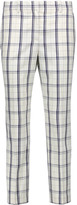 Theory Treeca cropped checked wool-blend straight-leg pants
