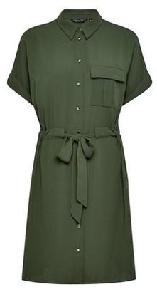 Dorothy Perkins Womens Khaki Drawstring Shirt Dress, Khaki