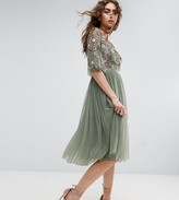 Needle & Thread Needle and Thread Ruffle Sleeve Midi Dress With Floral Embroidery