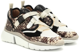 Chloé Sonnie snake-effect leather sneakers