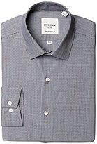 Ben Sherman Men's Black and White Dobby Stripe - Slim Fit - Spread, 15.5 34-35