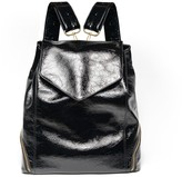Holly & Tanager The Professional Backpack Purse In Black Patent Leather