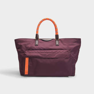 Anya Hindmarch E/W Tote In Claret Nylon With Neon Orange Details