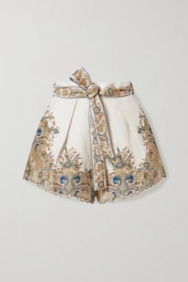 Zimmermann Freja Belted Paisley-print Linen Shorts - Ivory