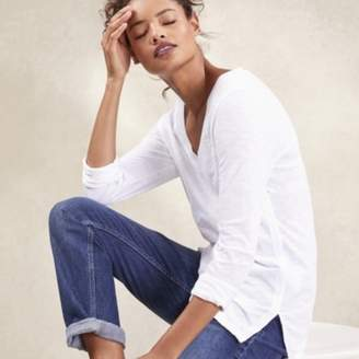 The White Company Cotton Long Sleeve Rib-Neck T-Shirt, White, 4