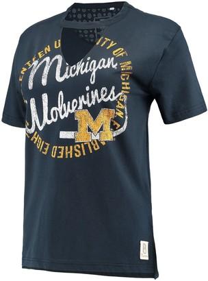 Women's Pressbox Navy Michigan Wolverines Saylor Choker T-Shirt