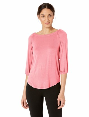 Lark & Ro 1-by-1 Rayon Span Open Neck Top Shirt