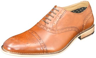 Curito Clothing Curito Wantage Men's Smooth Leather Semi-Brogue Detail Oxford Shoes - Tan
