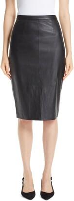 St. John Stretch Nappa Leather Pencil Skirt