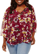Boutique + + 3/4 Sleeve V Neck Woven Floral Blouse - Plus