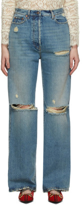 Gucci Blue Eco-Washed Ripped Jeans