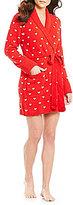 Betsey Johnson Heart Cozy Sweater-Knit Wrap Robe