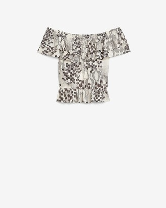 Express Animal Print Off The Shoulder Lace-Up Top