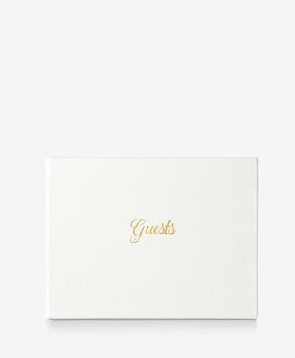 GiGi New York Guest Book, White Full Grain Leather