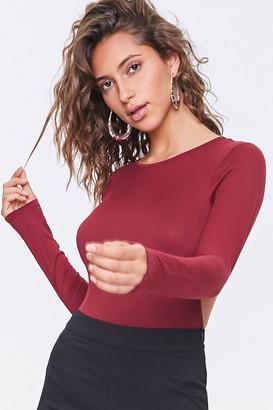 Forever 21 Open-Back Long-Sleeve Bodysuit