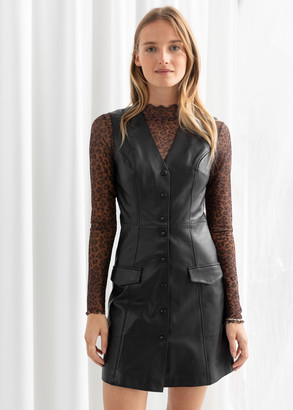 And other stories Leather Sleeveless Mini Dress