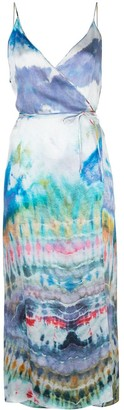 Amiri Watercolour-Print Wrap Dress