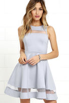 LuLu*s Sheer Determination Blue Grey Mesh Skater Dress