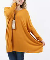 Lydiane Women's Tunics DESERT - Desert Mustard Crewneck Oversize Sweater Poncho Tunic - Women