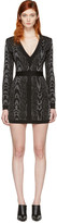 Balmain Black and White Deep V-neck Knit Dress