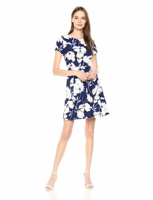 Eliza J Women's Short Sleeve Fit and Flare Dress