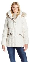 Larry Levine Women's Short Puffer with Pillow Collar, Ff Trimmed Hood