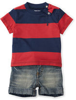 Ralph Lauren Boy Cotton Tee, Belt & Short Set