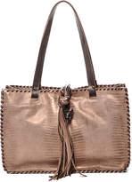 Carla Mancini Copper Metallic Whipstitch Leather Tote