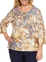 Alfred Dunner Crew Neck Blouse