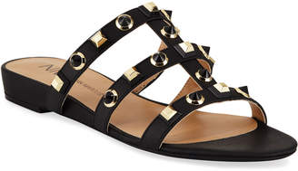 Neiman Marcus Buzzy Studded Flat Slide Sandals, Black