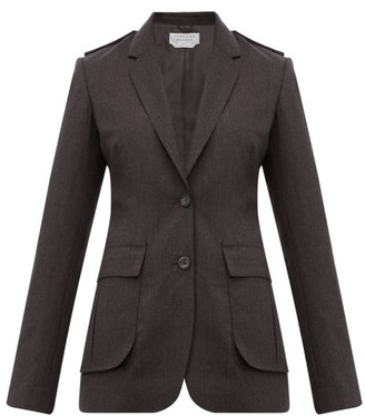 Gabriela Hearst Wesley Raw-edged Wool Blazer - Dark Grey