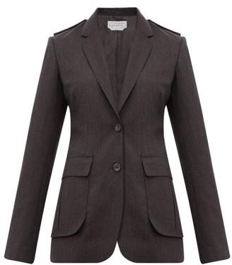 Gabriela Hearst Wesley Raw Edged Wool Blazer - Womens - Dark Grey