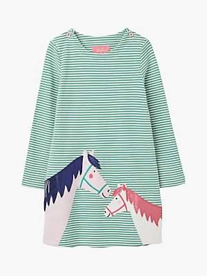 Joules Little Joule Girls' Kaye Horse Stripe Dress, Green