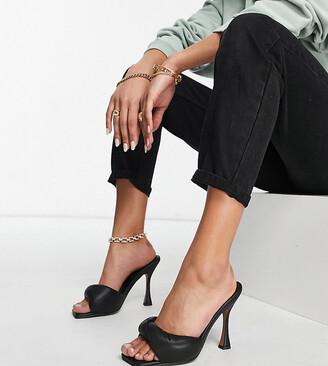 ASOS DESIGN Wide Fit Niki padded twist high heeled mules in black