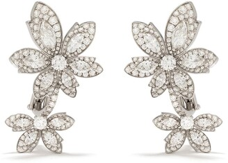 David Morris 18kt white gold Palm Double Flower diamond earrings