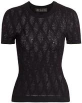 Versace Short-Sleeve Tattoo Knit Top