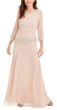 J Kara Scallop-Trim Embellished Gown