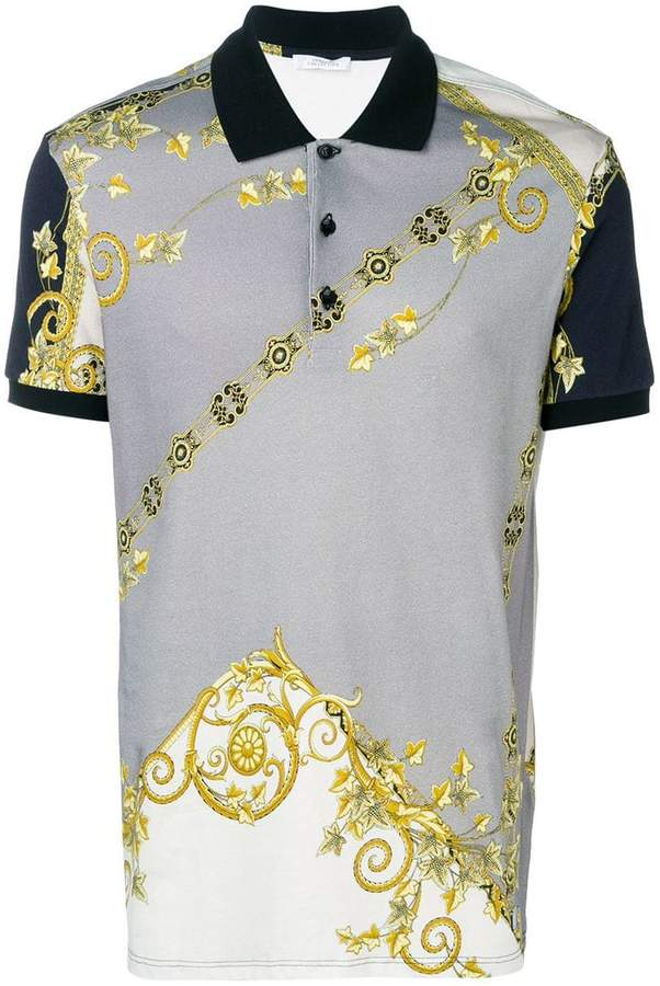 Versace gold leaf print polo shirt