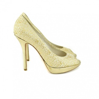 Christian Dior Miss Peep Toes Gold Cloth Heels