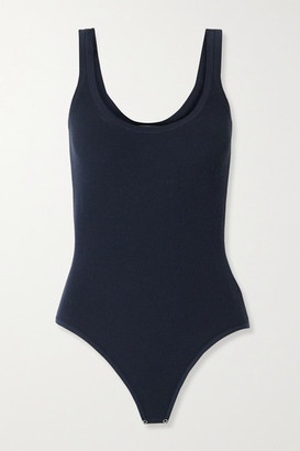 Michael Kors Ribbed-knit Thong Bodysuit - Midnight blue