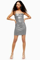 Topshop Womens Petite Metallic Foil Bodycon Dress - Silver