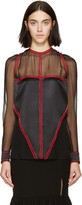 Givenchy Black & Red Chiffon Blouse