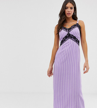 Glamorous Tall cami dress with lace detail in stripe-Purple