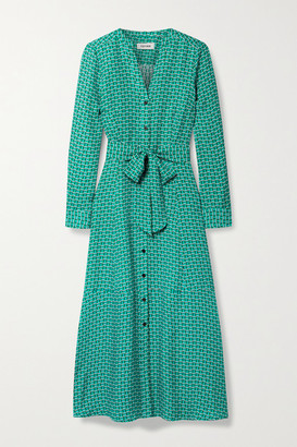 Cefinn Davika Belted Printed Satin-twill Midi Dress - Green