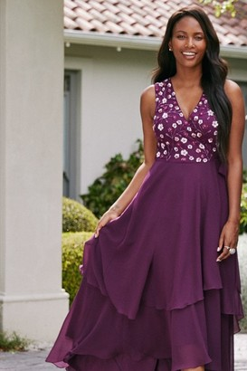 Little Mistress Kassidy Plum Sequin Hi-Low Maxi Wrap Dress