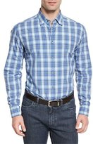 Brioni Ombre Plaid Long-Sleeve Sport Shirt, Blue