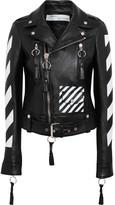 Off-White Paneled Leather Biker Jacket - Black