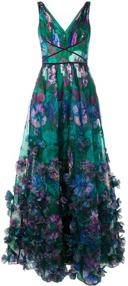 Marchesa 3D floral embellished evening gown